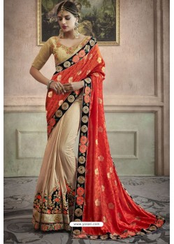 Light Beige Heavy Embroidered Designer Silk Sari