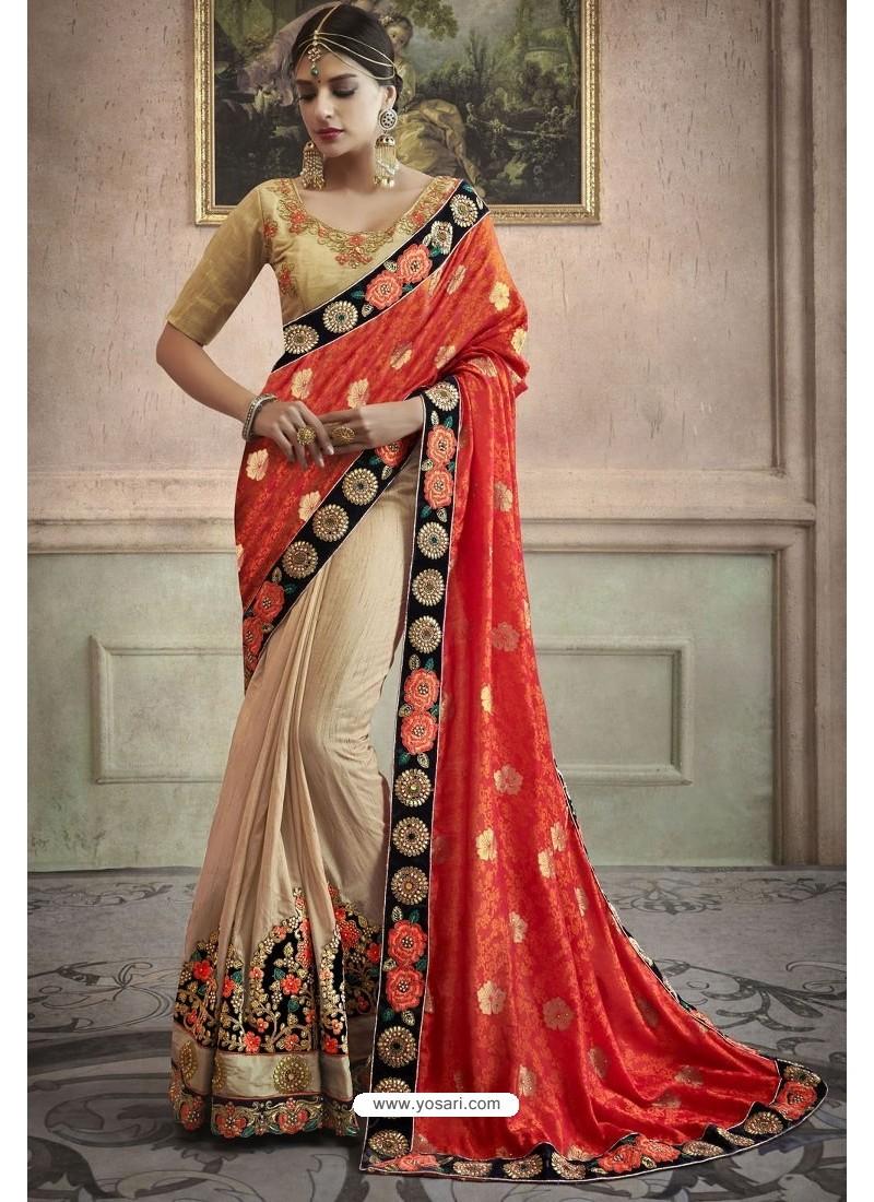 Light Beige Heavy Embroidered Designer Silk Sari