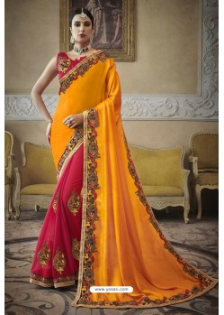 Yellow Heavy Embroidered Designer Silk Sari