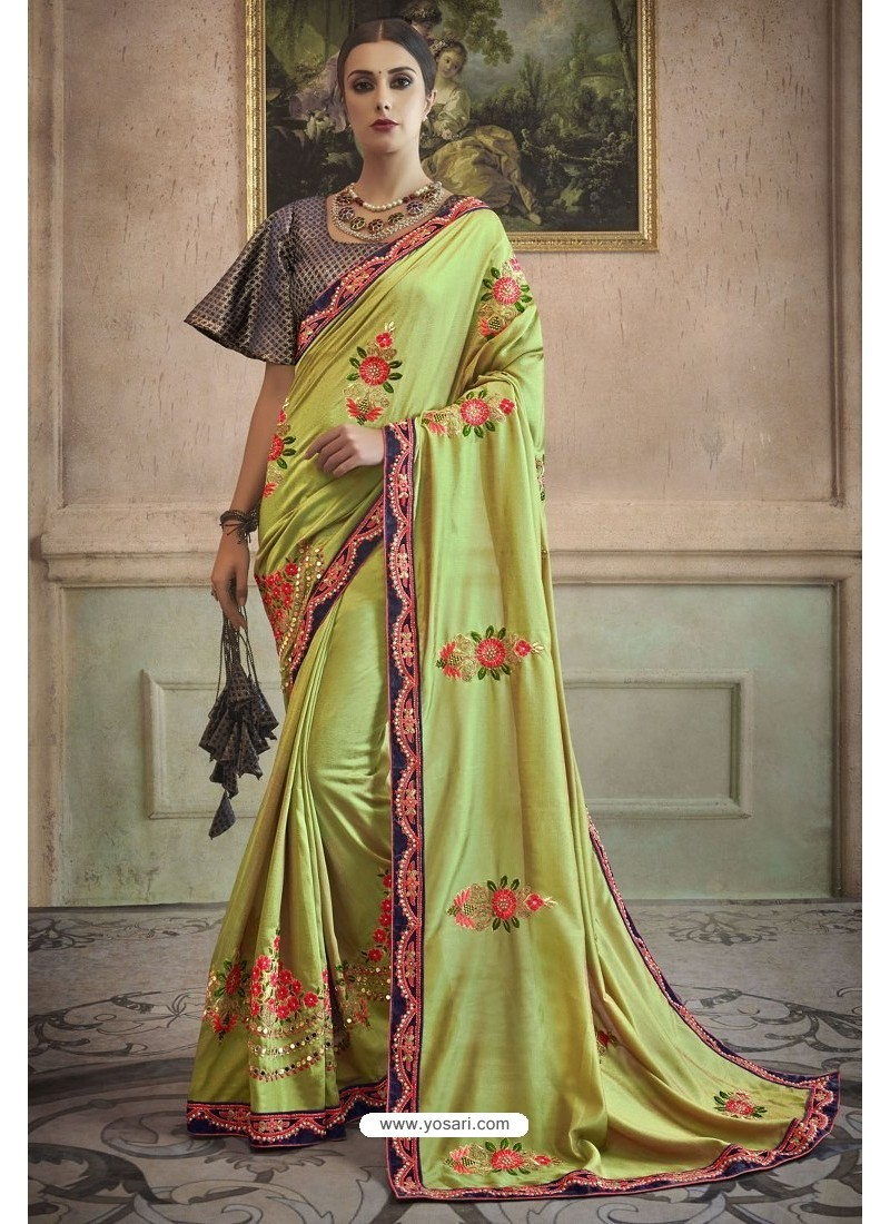 Green Heavy Embroidered Designer Silk Sari