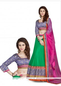 Embellished Green Net Lehenga Choli