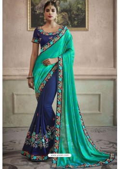 Navy Blue Heavy Embroidered Designer Silk Sari