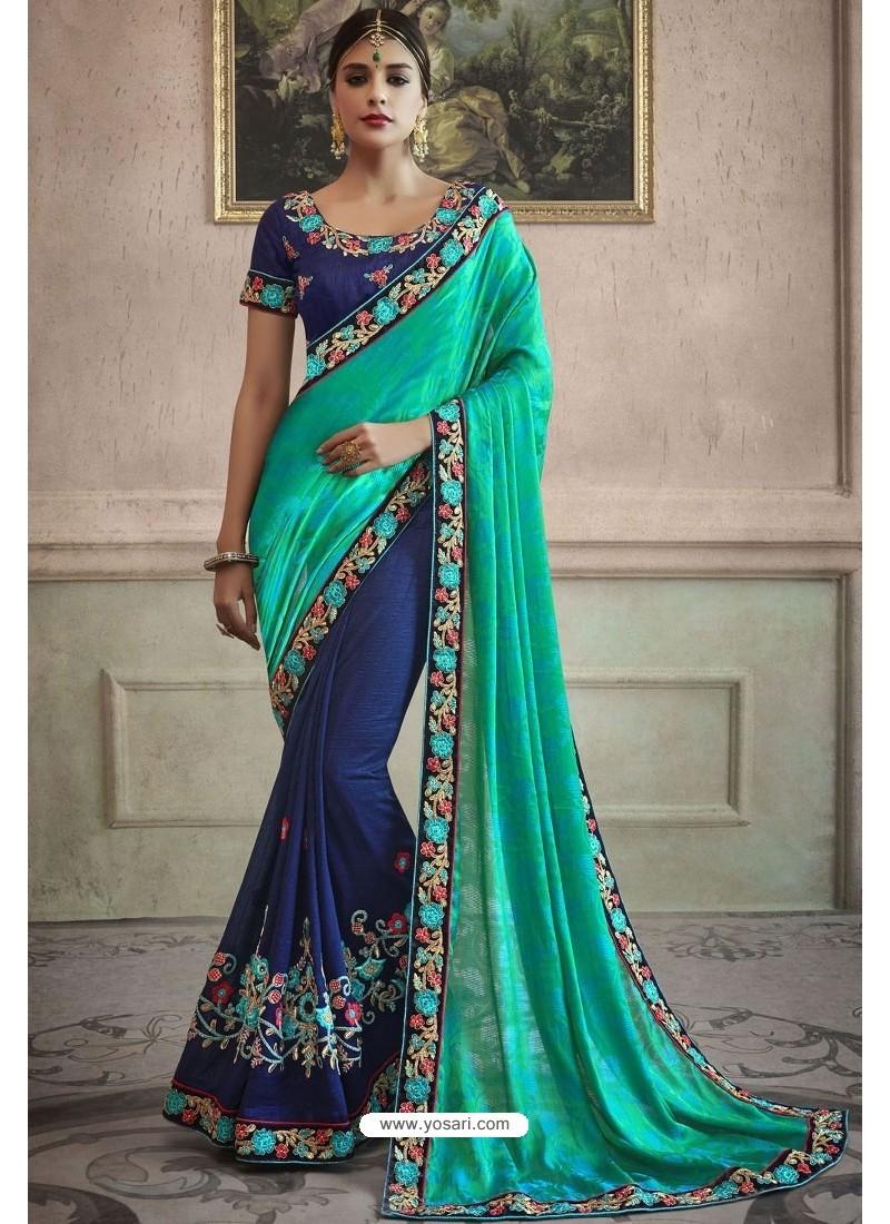 Navy Blue Heavy Embroidered Designer Silk Sari