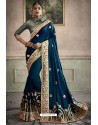 Peacock Blue Heavy Embroidered Designer Silk Sari