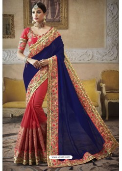 Royal Blue Heavy Embroidered Designer Silk Sari