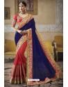 Royal Blue Heavy Embroidered Designer Silk Sari