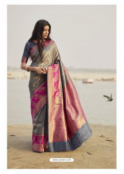 Grey Heavy Embroidered Designer Silk Sari