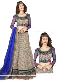 Grey And Blue Embroidery Work Lehenga Choli