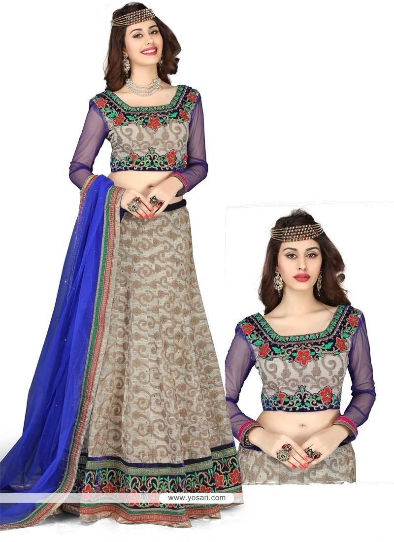 Grey And Blue Embroidery Work Lehenga Choli