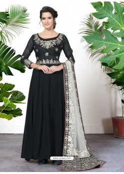 Scintillating Black Embroidered Designer Anarkali Suit