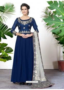 Scintillating Navy Blue Embroidered Designer Anarkali Suit