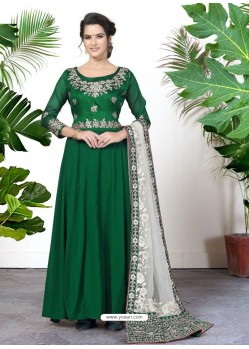 Awesome Forest Green Embroidered Designer Anarkali Suit