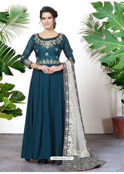 Fabulous Teal Blue Embroidered Designer Anarkali Suit