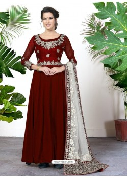 Fabulous Maroon Embroidered Designer Anarkali Suit