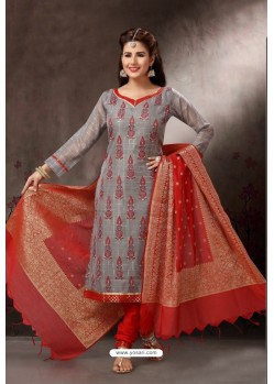 Grey Embroidered Designer Straight Salwar Suit