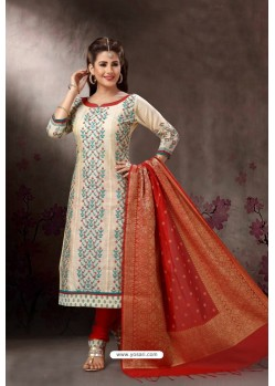 Light Beige Embroidered Designer Straight Salwar Suit