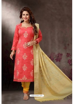 Peach Embroidered Designer Straight Salwar Suit