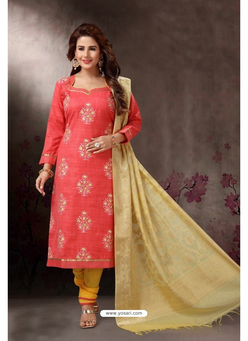 Peach Embroidered Designer Straight Salwar Suit