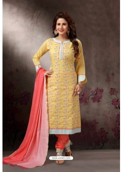 Lemon Embroidered Designer Straight Salwar Suit