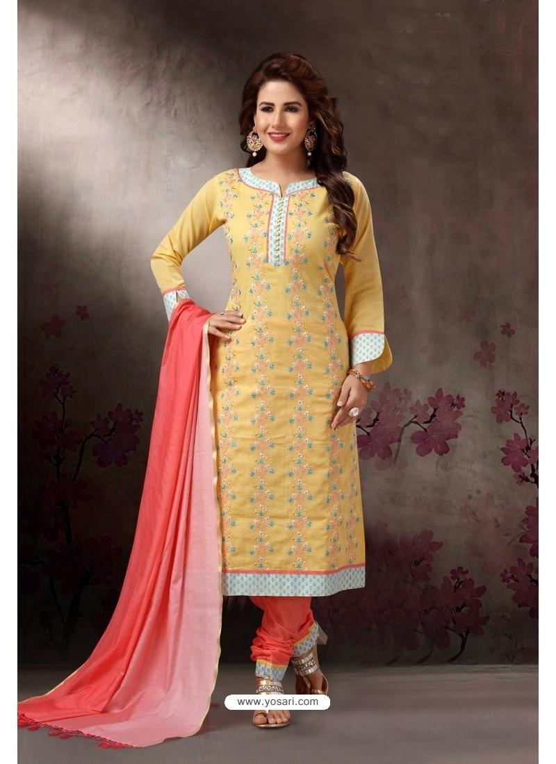 Lemon Embroidered Designer Straight Salwar Suit