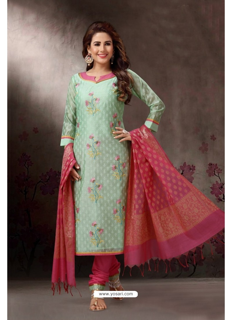 Sea Green Embroidered Designer Straight Salwar Suit