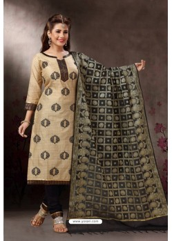 Cream Embroidered Designer Straight Salwar Suit