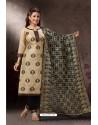 Cream Embroidered Designer Straight Salwar Suit