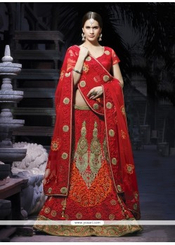 Embellished Maroon Embroidery Net Lehenga Choli