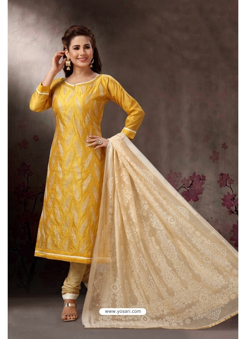 Yellow Embroidered Designer Straight Salwar Suit