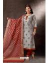 Grey Embroidered Designer Straight Salwar Suit