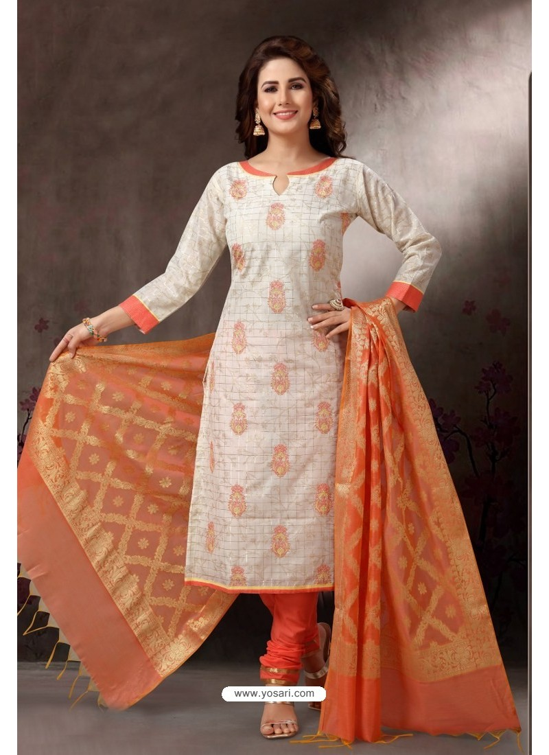 Off White Embroidered Designer Straight Salwar Suit