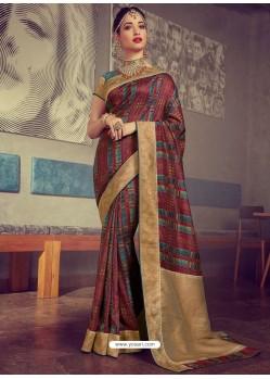 Sizzling Multi Colour Designer Party Wear Sari