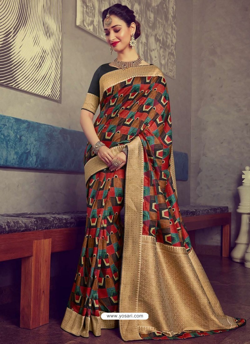Stunning Multi Colour Designer Party Wear Sari