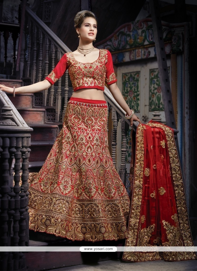Beautiful Maroon Silk Bridal Lehenga Choli