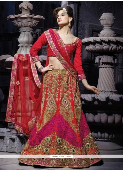 Fabulous Maroon Silk Designer Lehenga Choli
