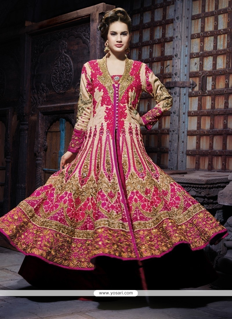 Stupendous Cream Silk Bridal Lehenga Choli