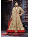 Cream And Maroon Net Bridal Lehenga Choli
