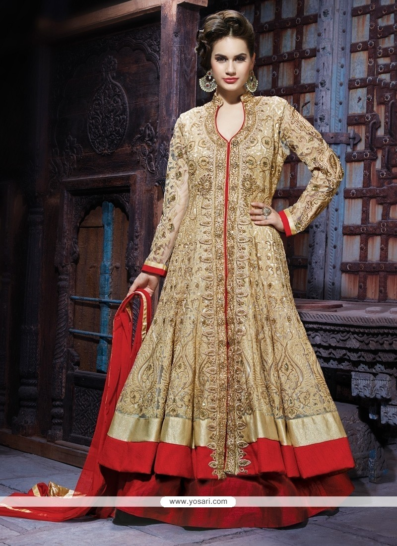 26d3d542ce Shop online Cream And Maroon Net Bridal Lehenga Choli