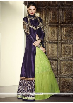 Nargis Fakhri Blue And Green Net Lehenga Choli