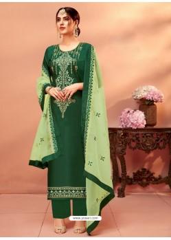 Dark Green Designer Silk Palazzo Salwar Suit