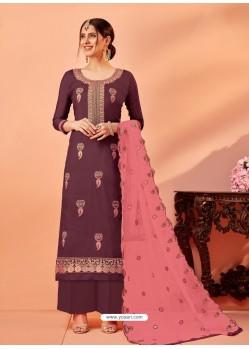 Deep Wine Designer Silk Palazzo Salwar Suit