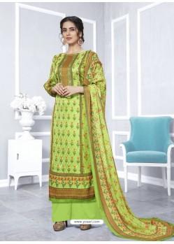 Parrot Green Designer Georgette Palazzo Salwar Suit