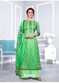 Green Designer Georgette Palazzo Salwar Suit