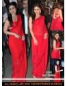 Kareena Kapoor Red Faux Chiffon Saree