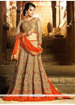 Graceful Beige Net Designer Lehenga Choli