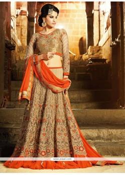 Graceful Beige Net Designer Lehenga Choli