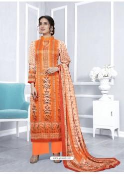 Orange Designer Georgette Palazzo Salwar Suit