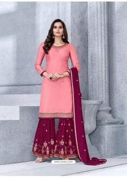 Light Red Designer Georgette Palazzo Salwar Suit