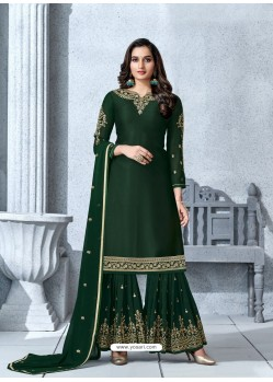 Dark Green Designer Georgette Palazzo Salwar Suit