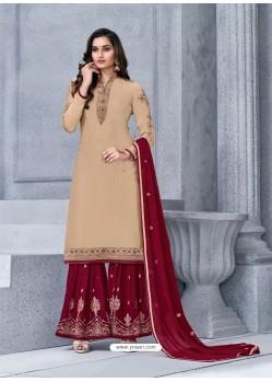 Light Beige Designer Georgette Palazzo Salwar Suit
